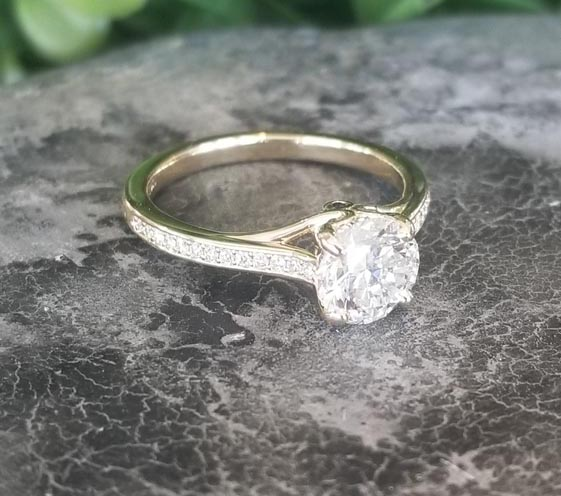 Custom Diamond Engagement Ring With Twisted Infinity Shank And Milgrain Beading