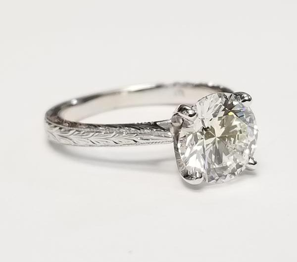 Custom Diamond Solitaire Engagement Ring With Hand Engraved Shank