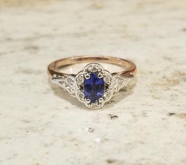 Custom Sapphire And Diamond Halo Ring (2)