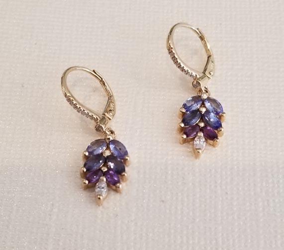Custom Tanzanite And Amethyst Earrings With Diamond Leverbacks