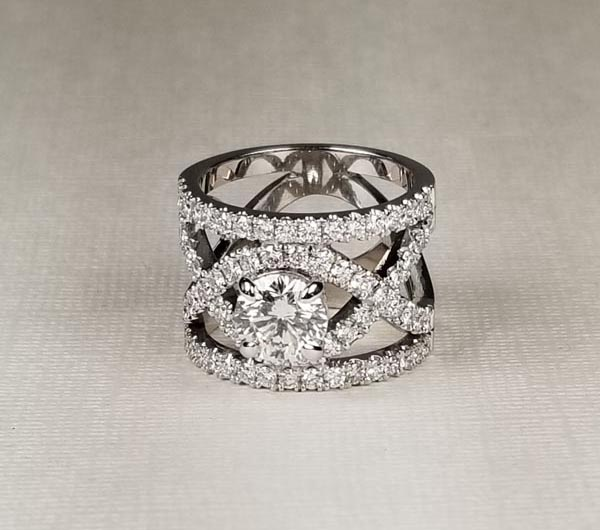 Custom White Gold Diamond Band With Open X Design
